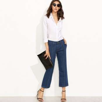 Women Spring Pockets Straight Polyester Jeans